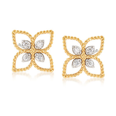 "Roberto Coin ""Princess"" 18kt Two-Tone Gold Flower Stud Earrings with Diamond Accents, , default"