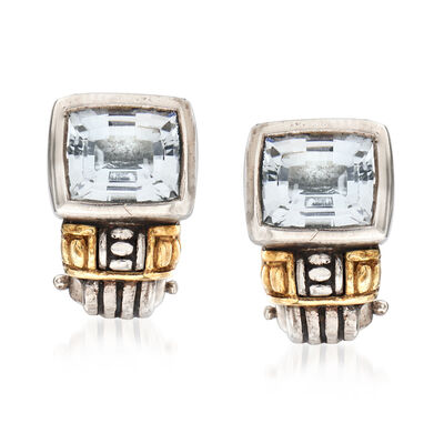 C. 2000 Vintage Lagos Caviar 2.20 ct. t.w. Blue Topaz Earrings in Sterling Silver and 18kt Yellow Gold, , default