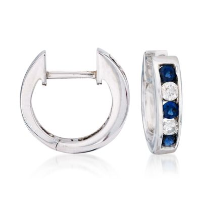 .45 ct. t.w. Sapphire and Diamond Hoop Earrings in 14kt White Gold, , default
