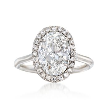 Majestic Collection 3.23 ct. t.w. Diamond Oval Halo Ring in Platinum, , default