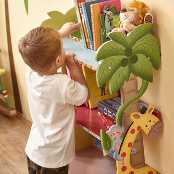 Child's Sunny Safari Wooden Bookshelf, , default