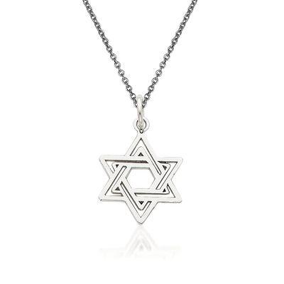 14kt White Gold Star of David Pendant Necklace, , default