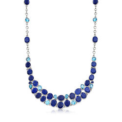 Multi-Shape Lapis and 15.65 ct. t.w. Blue Topaz Collar Necklace in Sterling Silver, , default