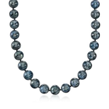 10-11mm Black Cultured Freshwater Pearl Necklace With 14kt White Gold, , default