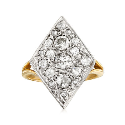 C. 1950 Vintage 1.20 ct. t.w. Diamond Cluster Ring in 14kt Two-Tone Gold, , default