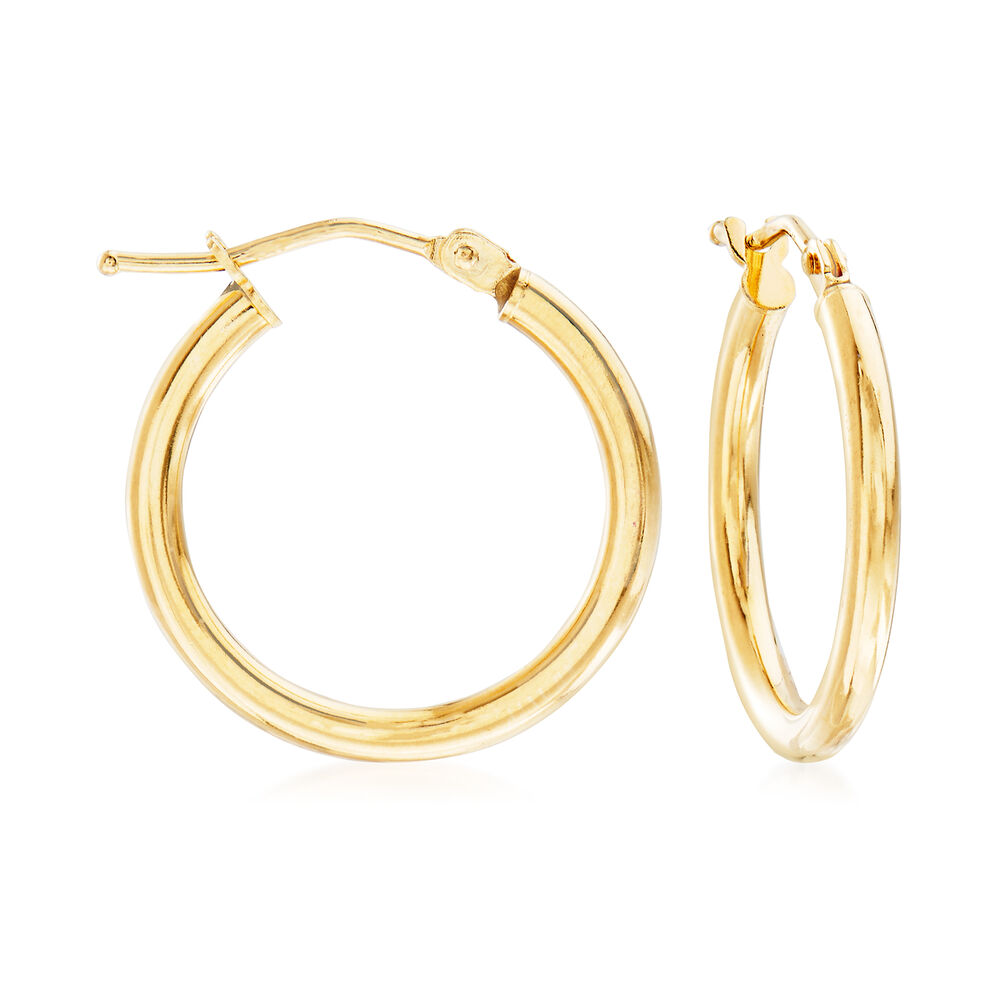 Italian 2mm 18kt Yellow Gold Hoop Earrings 3 4 Default