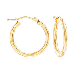 "Italian 2mm 18kt Yellow Gold Hoop Earrings. 3/4"", , default"