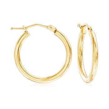 """Italian 2mm 18kt Yellow Gold Hoop Earrings. 3/4"""", , default"""