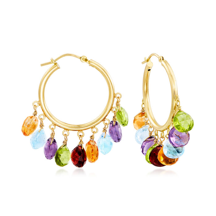 "21.15 ct. t.w. Multi-Gemstone Hoop Earrings in 18kt Gold Over Sterling. 1 3/8"", , default"