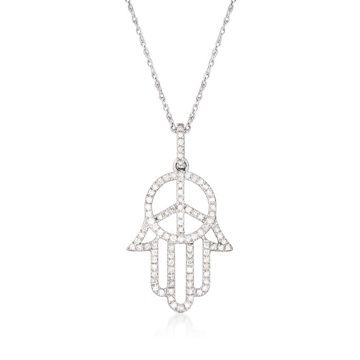 .50 ct. t.w. Diamond Peace Sign and Hamsa Hand Pendant Necklace in Sterling Silver