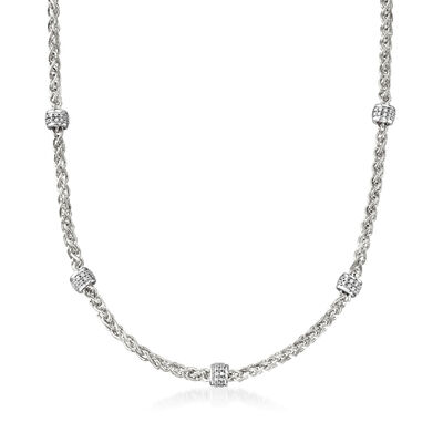"Charles Garnier ""Paolo"" 1.08 ct. t.w. CZ Beaded Station Necklace in Sterling Silver, , default"