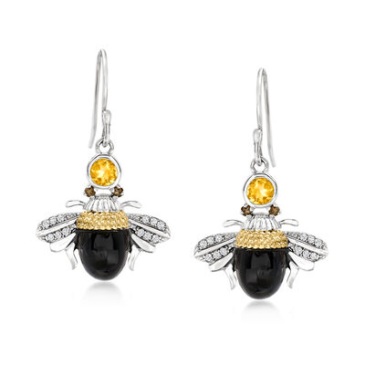 Black Onyx and .99 ct. t.w. Multi-Gemstone Drop Bumblebee Earrings in Sterling Silver with 14kt Yellow Gold