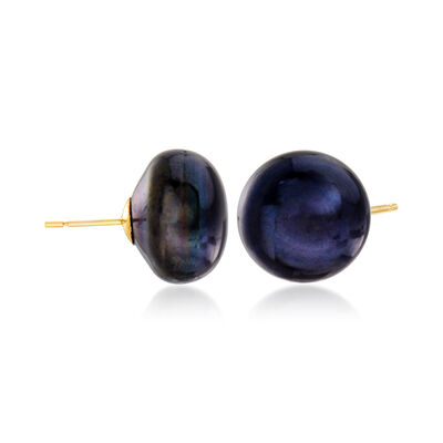 14-15mm Black Cultured Pearl Stud Earrings in 14kt Yellow Gold, , default