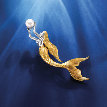 9-9.5mm Cultured Pearl Mermaid Pin in Sterling Silver and 18kt Gold Over Sterling