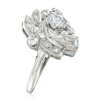 C. 1950 Vintage .85 ct. t.w. Diamond Cluster Ring in 14kt White Gold. Size 6.5, , default