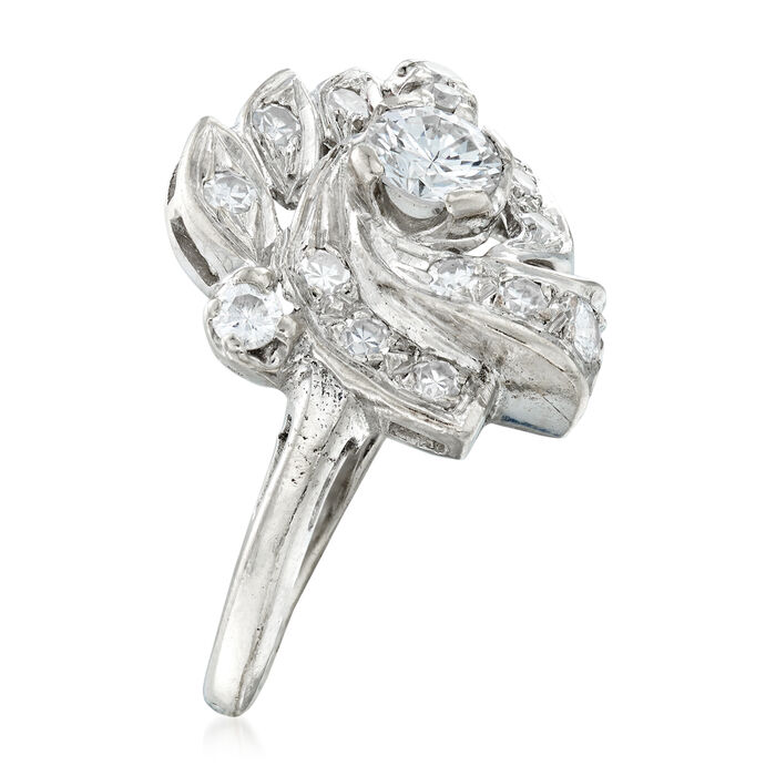 C. 1950 Vintage .85 ct. t.w. Diamond Cluster Ring in 14kt White Gold