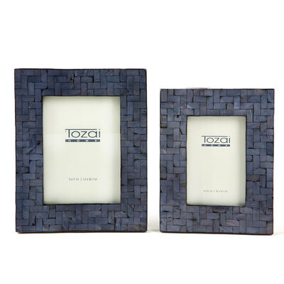 Set of Two Midnight Blue Mother-Of-Pearl Photo Frames, , default