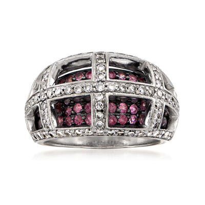 C. 1990 Vintage 1.15 ct. t.w. Diamond and 1.05 ct. t.w. Pink Sapphire Grid Ring in 14kt White Gold, , default