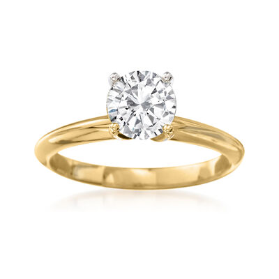 C. 2000 Vintage 1.17 Carat Diamond Solitaire Engagement Ring in 14kt Yellow Gold