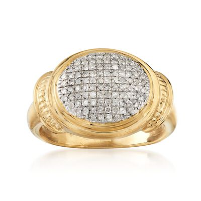.33 ct. t.w. Pave Diamond Oval Ring in 18kt Gold Over Sterling, , default