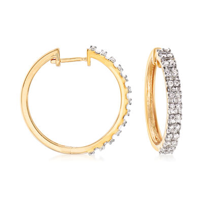 1.00 ct. t.w. Diamond Hoop Earrings in 18kt Gold Over Sterling