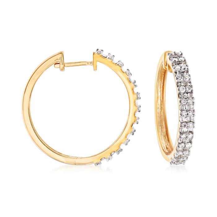 """1.00 ct. t.w. Diamond Hoop Earrings in 18kt Gold Over Sterling. 7/8"""""""