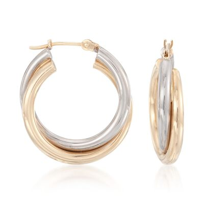 14kt Two-Tone Gold Hoop Earrings
