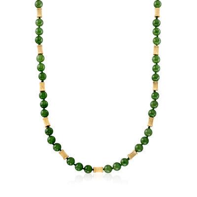 C. 1970 Vintage Jade Bead Necklace in 14kt Yellow Gold, , default