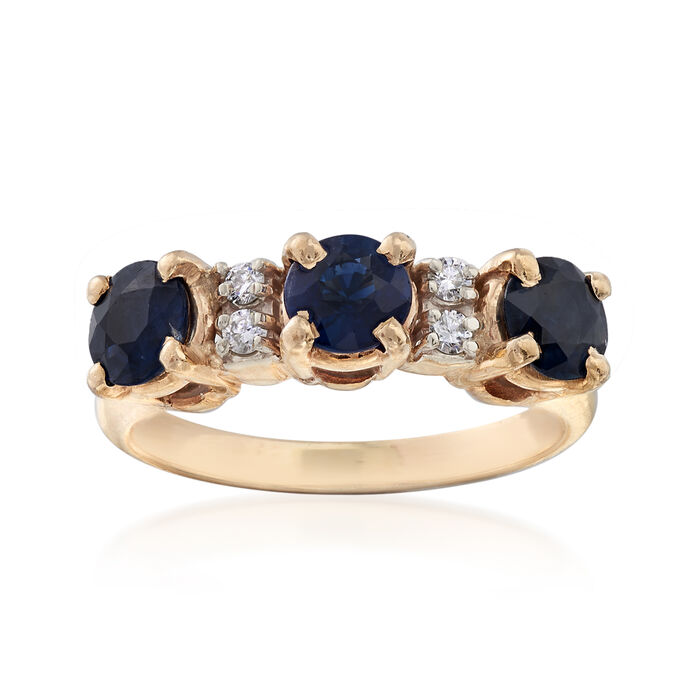C. 1980 Vintage 1.10 ct. t.w. Sapphire Band with Diamond Accents in 14kt Yellow Gold. Size 6, , default