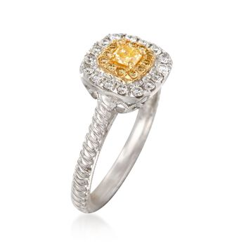.52 ct. t.w. White and Yellow Diamond Ring in 18kt Two-Tone Gold. Size 6, , default