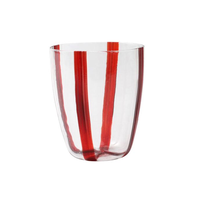 "Vietri ""Stripe Red"" Short Tumbler from Italy"