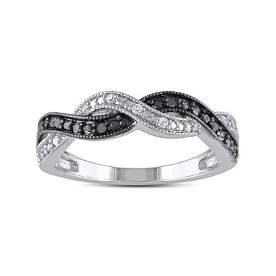 .10 ct. t.w. Black and White Diamond Braid Ring in Sterling Silver