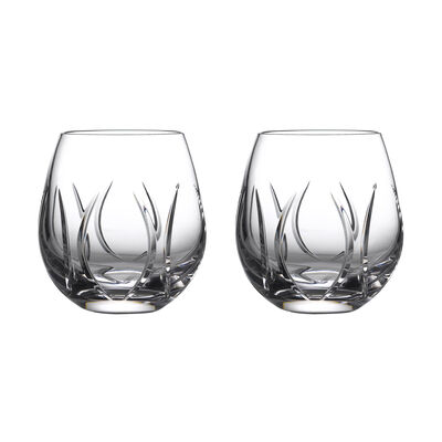 """Waterford Crystal """"Tonn"""" Set of 2 Stemless Wine Glasses"""