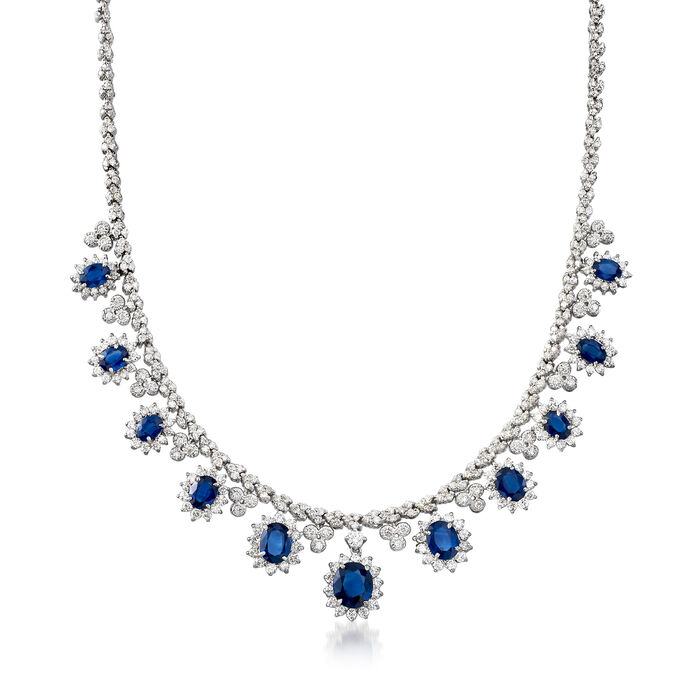 "17.10 ct. t.w. Sapphire and 8.85 ct. t.w. Diamond Necklace in 14kt White Gold. 17.5"", , default"
