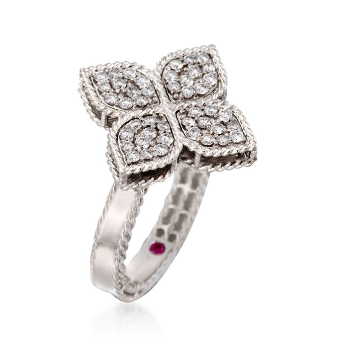 """Roberto Coin """"Princess"""" .45 ct. t.w. Diamond Flower Ring in 18kt White Gold"""
