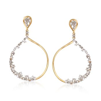 .53 ct. t.w. Baguette and Round Diamond Drop Hoop Earrings in 14kt Yellow Gold  , , default