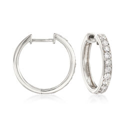 .50 ct. t.w. Diamond Hoop Earrings in 14kt White Gold, , default