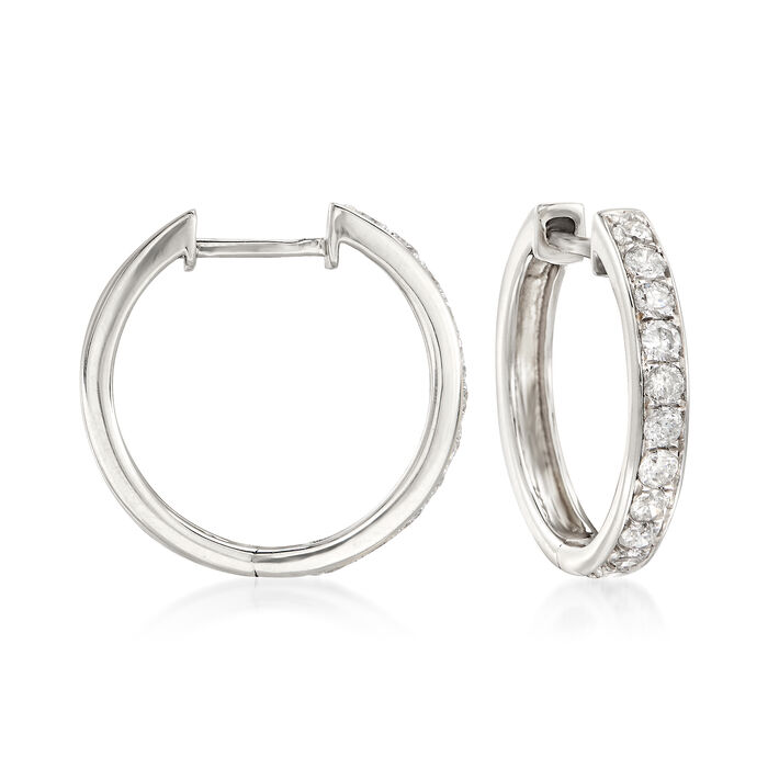 ".50 ct. t.w. Diamond Hoop Earrings in 14kt White Gold. 5/8"", , default"