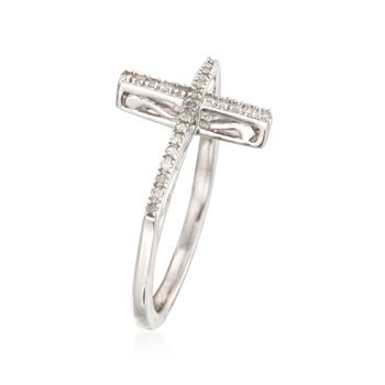 .10 ct. t.w. Diamond Sideways Cross Ring in Sterling Silver, , default