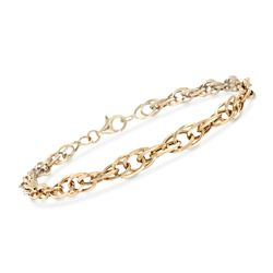 14kt Yellow Gold Interlocking Double Oval-Link Bracelet, , default