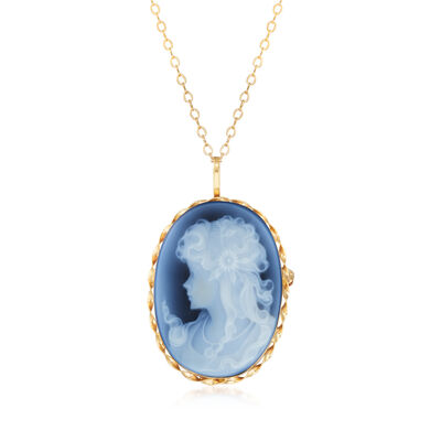 C. 1980 Blue Agate Cameo Pendant Necklace in 14kt Yellow Gold