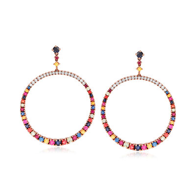 6.10 ct. t.w. Multi-Gemstone ct. t.w. and .87 ct. t.w. Diamond Circle Drop Earrings in 18kt Rose Gold