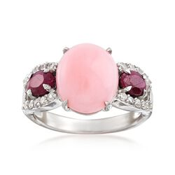 Pink Opal and .90 ct. t.w. Ruby Ring With .30 ct. t.w. White Zircon in Sterling Silver , , default