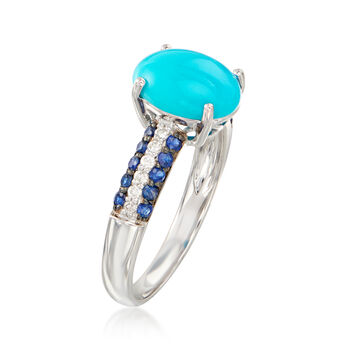 Turquoise, .30 ct. t.w. Sapphire and .10 ct. t.w. Diamond Ring in 14kt White Gold. Size 7, , default