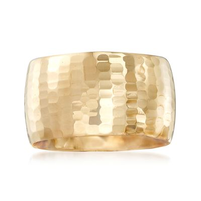 Italian 14kt Yellow Gold Wide Textured Ring, , default