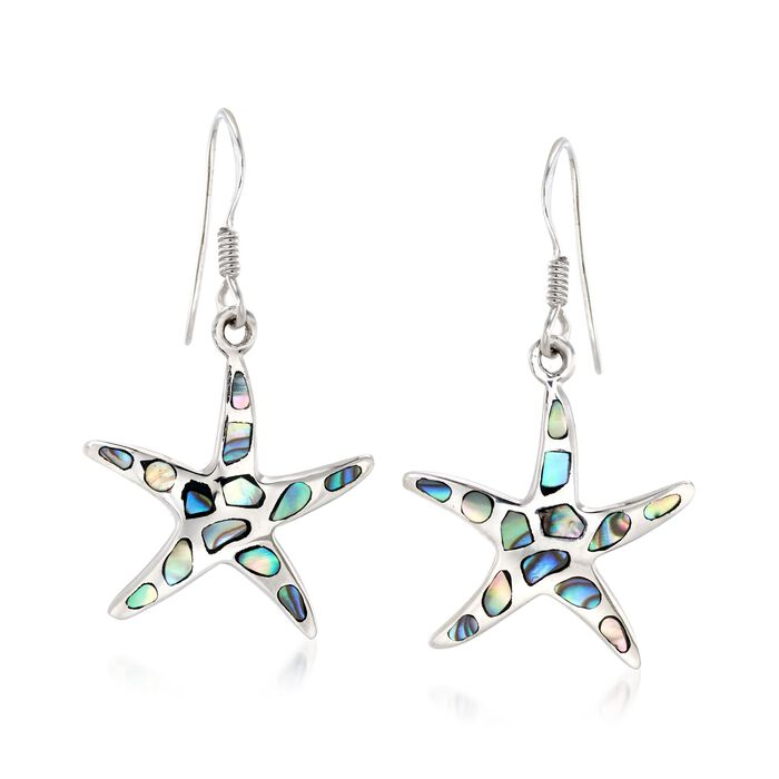 Abalone Shell Starfish Drop Earrings in Sterling Silver , , default