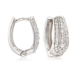 1.00 ct. t.w. Diamond U-Shaped Hoop Earrings in Sterling Silver, , default