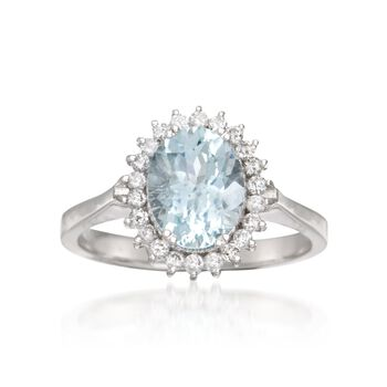 1.70 Carat Aquamarine and .25 ct. t.w. Diamond Ring in 14kt White Gold. Size 8, , default