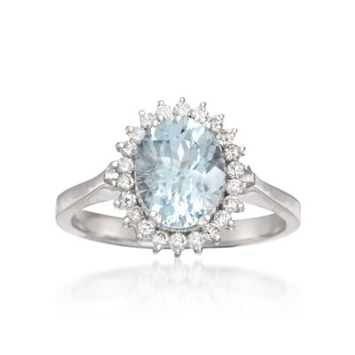 1.70 Carat Aquamarine and .25 ct. t.w. Diamond Ring in 14kt White Gold    , , default
