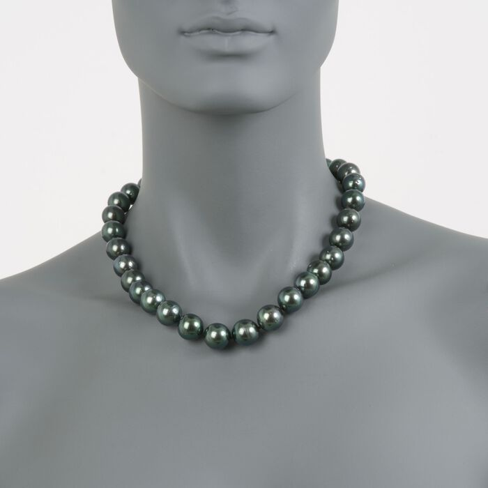 12-14.5mm Black Cultured Tahitian Pearl Necklace with Diamonds and 14kt White Gold. 18""